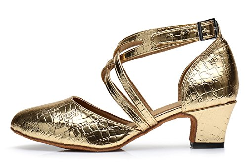 Dance Modern Salsa Wedding Women's Gold Prom Ballroom Toe Latin Joymod Corss Shoes MGM 5cm Heel Tango Party Pumps Strap Buckle Closed xww70