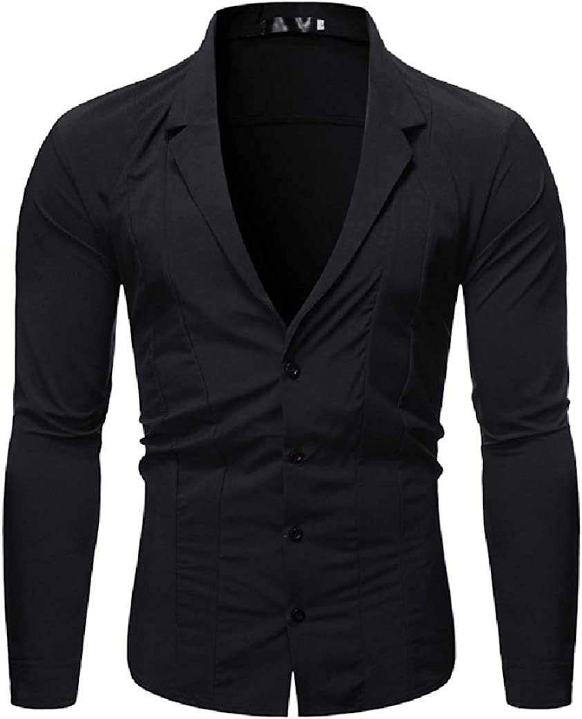 Doufine Men Solid Colored Slim Fit Autumn Blazer Long Sleeve Western Shirt