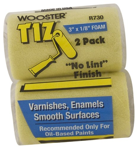 (Wooster Brush R730-3 Tiz Foam Roller Cover, 1/8-Inch Nap,  2-Pack, 3-Inch)