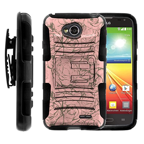 LG Ultimate 2 Case, LG Ultimate 2 Holster, Two Layer Hybrid Armor Hard Cover with Built in Kickstand for LG Optimus L70 MS323, LG Optimus Exceed 2 VS450PP, LG Realm LS620, LG Ultimate 2 L41C (Metro PCS, Verizon, Boost Mobile) from MINITURTLE | Includes Screen Protector - Rose Wall (Lg Realm Phone Boost Mobile)