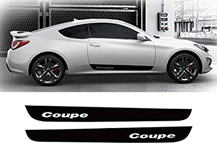 LIGHTKOREA Door Side Line Decal Protector Sticker Black 3Type Hyundai Genesis Coupe 2009-2017 Coupe Logo