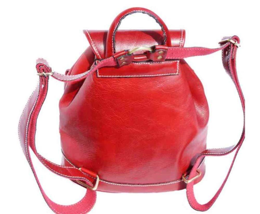 Superflybags handväska modell Mazzara superflybags ryggsäck i äkta läder tillverkad i Italien röd