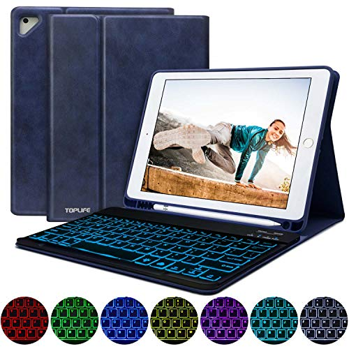 - iPad 9.7 Keyboard Case for New iPad 2018 (6th Gen) - iPad Pro 2017 (5th Gen) - Air 2&1-, 7 Color Backlit Keyboard Wireless Bluetooth, Shockproof TPU Back Cover Magnetic Leather (Dark Blue-Backlit)