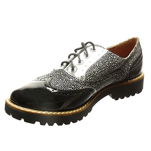 Patentes Zapatillas Zapato Derby Tac Zapato Moda Angkorly Mujer Perforado Acento a6wxSO4
