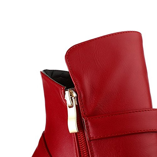 AllhqFashion Mujer Puntera Cerrada Sólido Sintético Botas Rojo-Pieza de Metal