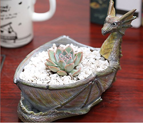 (Creative Dragon Shaped Flower Pots Resin with Hole Small Potted Succulent Planters Vase Bowl Rustic Fairy Garden Design Home Tabletop Storage Decor Unique Crafts Garden Ornament(Dragon))