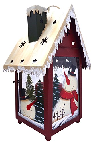 Christmas Snowman Lantern Decoration – Decorative Holiday Table Centerpiece or Hanging Lantern Holder for Pillar Candle or LED Light. Indoor Use, by Clovers Garden For Sale
