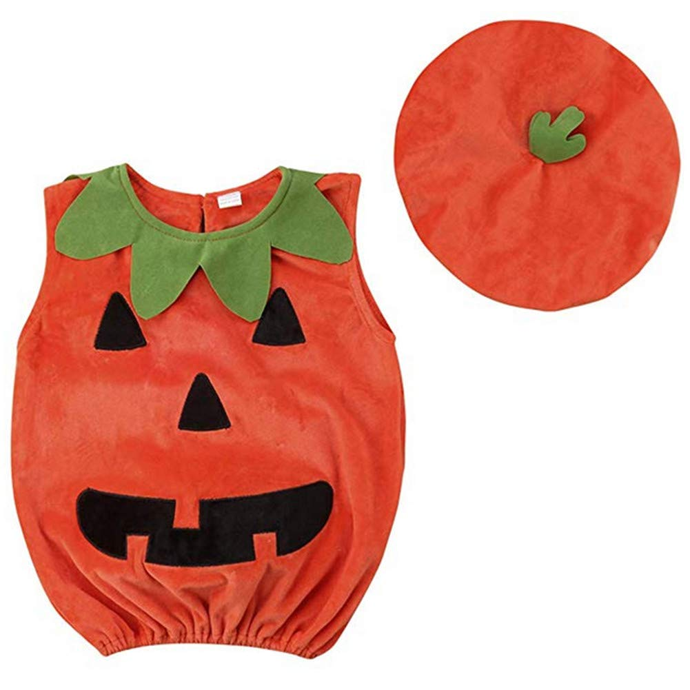TOBABYFAT Baby Boy Girl Halloween Costumes Newborn Outfit Pumpkin Bodysuit+Hat
