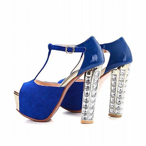 Carolbar Women's Chic Platform Super High Heel Peep Toe T-Strap Evening Sandals Blue 2NFy3w