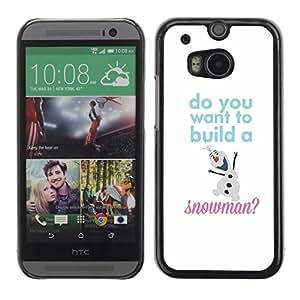FECELL CITY // Duro Aluminio Pegatina PC Caso decorativo Funda Carcasa de Protección para HTC One M8 // Snowman Quote White Winter Text