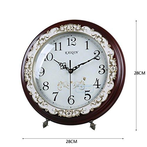 Clock LANNA SHOP- Mantel/Mantle Rhythm Quartz Wooden living room desk (Color : Brown)