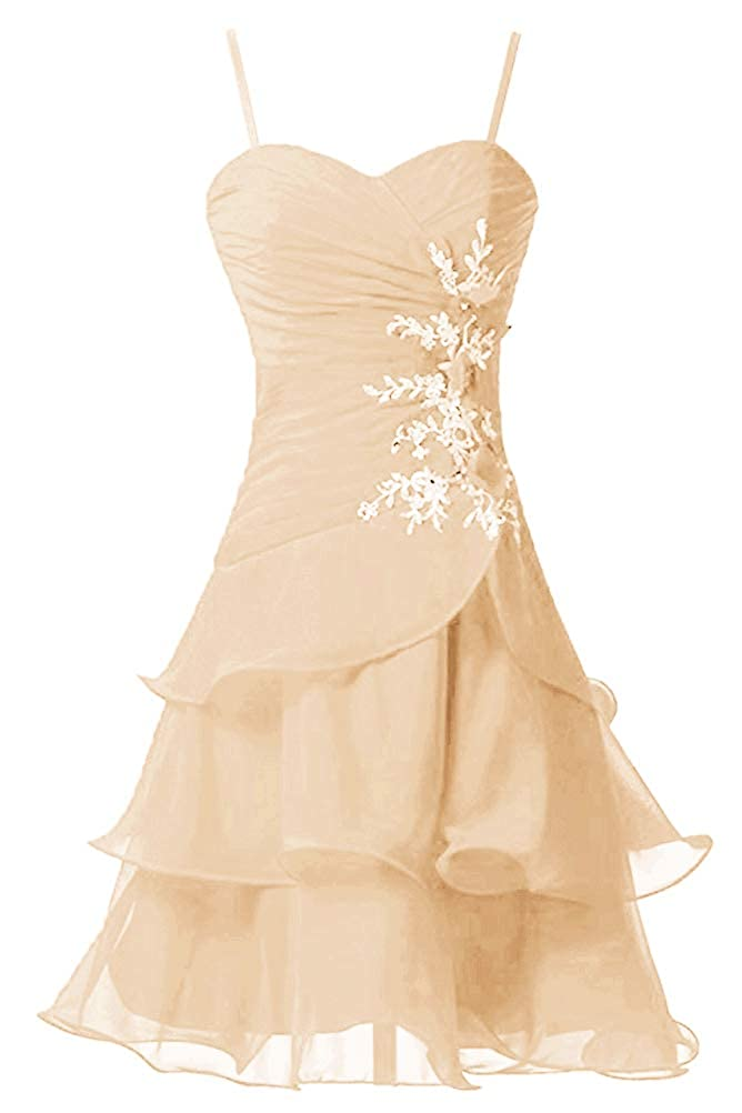 Champagne Victoria Prom Women's Strap A Line Short Bridesmaid Dress Prom Party Gowns Sweet Homecoming Dress