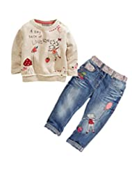 Zhuannian Baby Girls Toddler Flower Long Sleeve Tops and Pants Sets
