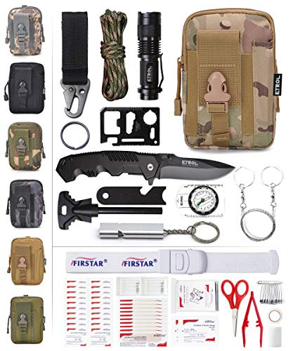 ETROL Emergency Survival Kit, First Aid Kit, Upgraded Tactical Molle Pouch, 90-in-1 Outdoor Camping Gear for Car, Fishing, Boat, Hunting, Hiking, Home, Earthquake, Office (Camouflage-2)