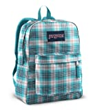 JanSport T501 Superbreak Backpack - White/Blue Light Rhonda Plaid