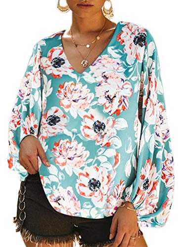 Dokotoo Womens Plus Size 2019 Elegant Female Autumn Casual Floral Printed Loose Shirt Balloon Long Sleeve V-Neck Boho Blouses Tops Shirts for Womens X-Large