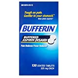 Bufferin Buffered Aspirin (NSAID) Coated Tablets Pain Reliever/Fever Reducer 130 ea