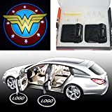 Spoya Wonder Women wireless magnetic car door step LED welcome logo shadow ghost light laser projector light Powered by battery