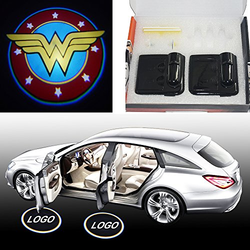 Spoya Wonder Women wireless magnetic car door step LED welcome logo shadow ghost light laser projector light Powered by battery (Accessories Wonder Women Car)