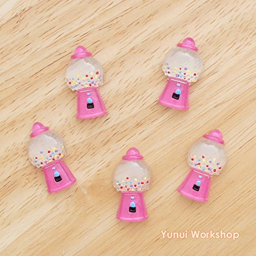 (500pcs) Candy Gumball Machines Resin Flat Back Decoden Cabochons Scrapbooking Deco Embellishments Shape Craft DIY 17mm x 29mm (Wholesale) by Yunui Workshop