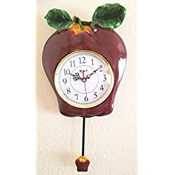 Red Apple Ceramic 3-Dimensional Pendulum Wall Clock
