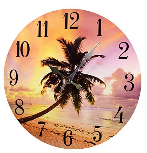Palm Tree Sunset Wood Wall ClockNew 13