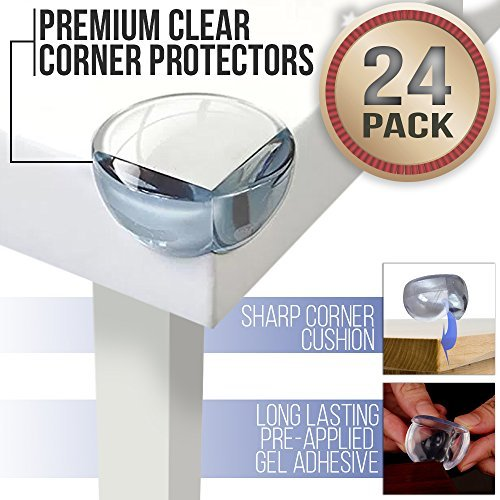 Baby Proofing Clear Corner Guards for Kids with Extra-Strong Glue (24 Pack)   Impact-Absorbing Child Furniture Bumpers   Surface-Friendly Adhesive   Discreet Safety Edge Protector Cushion Set