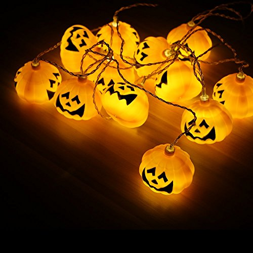GiBot Halloween Pumpkin Lights Lanterns, 12 LED 10 feet Battery Powered Pumpkin String Lights 3D Jack o Lantern Halloween Pumpkin Lights Decor for Indoor Outdoor Party Ideas, (Halloween Decor Party Ideas)