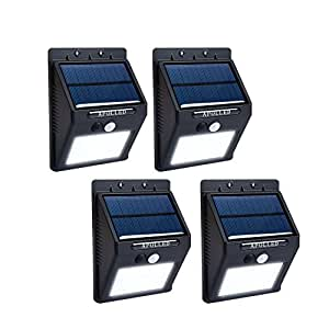 Solar Lights, APOLLED 16 LED Waterproof Wireless Security Bright Motion Sensor Light Auto On / Off for Outdoor Garden, Yard, Deck, Wall, Patio, Driveway (Set of 4)