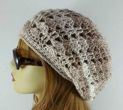 Amazon Slouchy Beanie Crochet Hat For Women Lacy Beige Handmade