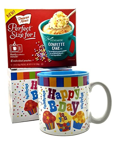 Happy Birthday Mug In Gift Box with 4 Mug Cake Mix Pouches Bundle (Confetti) (Birthday Cake For College Students)