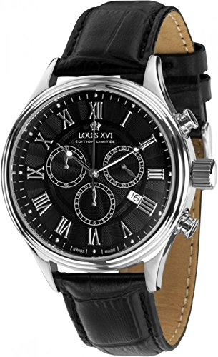 Louis XVI Men's-Watch Danton l'argent Noir Swiss Made Chronograph Analog Quartz Leather Black ()