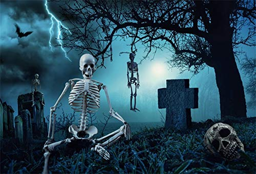 AOFOTO 9x6ft Skulls Murder Night Scene Halloween Photography Background Hanging Skeleton on Bare Tree Skull Cemetery Gravestone Backdrop Vinyl Hallowmas Poster Photo Booth Props]()