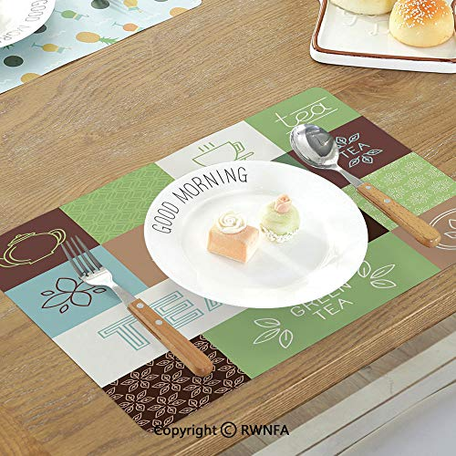 SfeatruMAT Heat Resistant Table Mats Modern Lemon Figures with Slices and Leaves Summer Season Fresh Fruit Watercolor Non-Slip Heat Resistant Decor Placemat Yellow Hunter Green