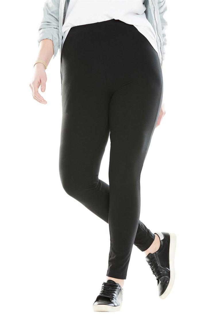 Women's Plus Size Petite Stretch Cotton Legging Black,3X