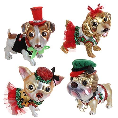 RAZ Imports - Adorable Dog Christmas Tree Ornaments - (Set of 4)