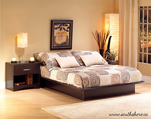 Basic Collection Platform Bed with Moulding - Queen Size - Chocolate - Contemporary Design -  by South Shore - bedroomdesign.us