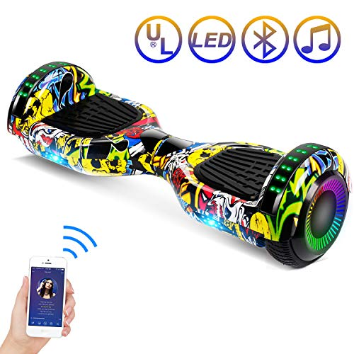 SISIGAD Hoverboard Self Balancing Scooter 6.5' Two-Wheel Self Balancing Hoverboard with Bluetooth Speaker and LED Lights Electric Scooter for Adult Kids Gift UL 2272 Certified Fun Edition - Graffiti