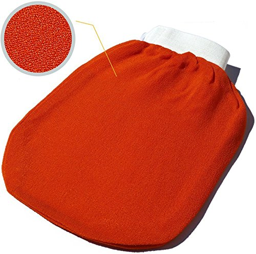 Spa Exfoliating Body Scrub Glove - Dead Skin Remover, Double Sided Exfoliator Mitt - Remove Blackheads, Bumps and Impurities for Deep Cleansing and a Healthy Soft Skin (Orange)