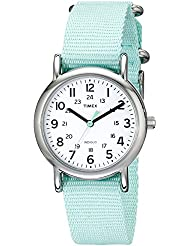 Timex Womens T2P0739J Weekender Silver-Tone Watch with Seafoam Green Nylon Band