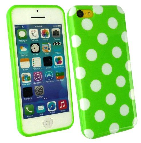 Emartbuy® Pack Stylet Pour Apple Iphone 5c Vert Metallic Mini Stylet + Protecteur D'Écran Lcd + Vert / Pois Blanc De Couverture De Gel / Étui / Housse Peau