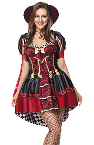 [Sibeawen Women's Deluxe Heartless Queen Plus Size Costumes Fairy Tale Costumes Red Small/Medium] (Plus Size Queen Of Hearts)