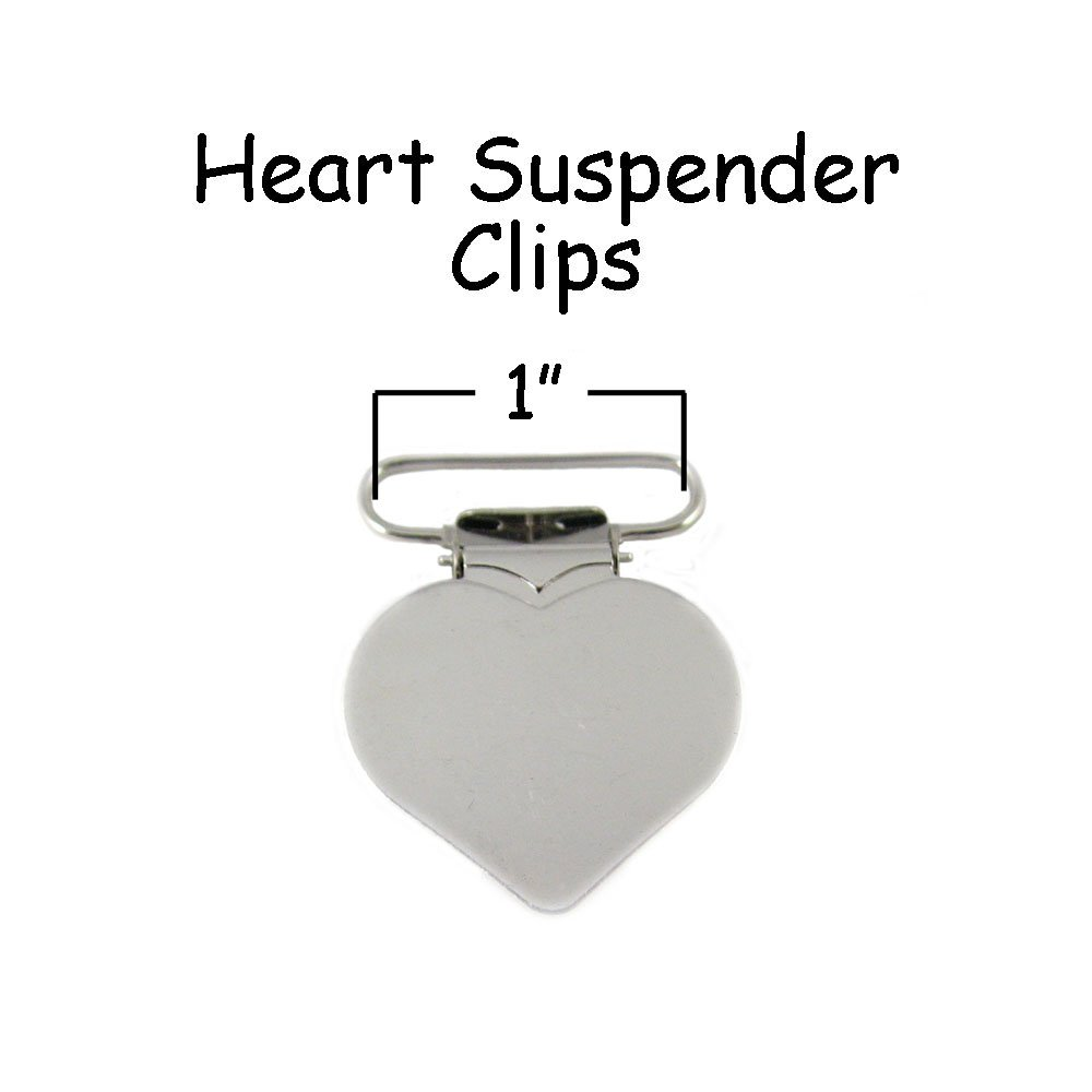 100 - Heart Shaped 1'' Metal Suspender Clips - w/Rectangle Inserts by I Craft for Less