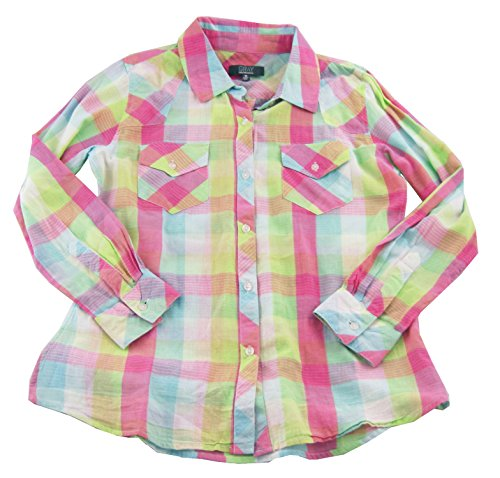 saks-fifth-avenue-gray-womens-plaid-button-down-shirt-blue-pink-white-medium