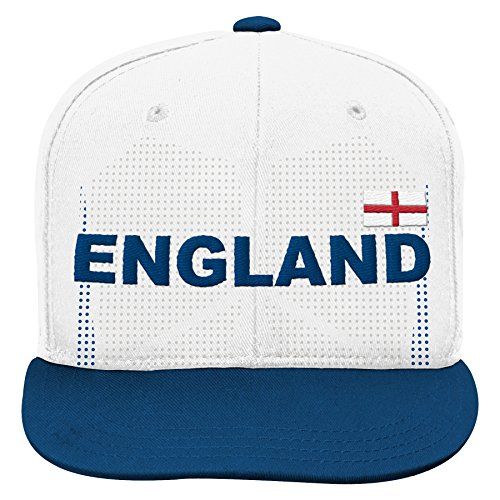 (World Cup Soccer England Boys Jersey Hook Flag Snapback Cap with Adjustable Snap Closure, White, One Size)