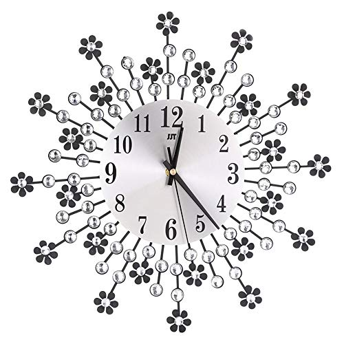 Modern Crystal Diamond Wall Clock, Luxury Flower Wall Clock Silent Metal Clock for Living Room, Bedroom, Home Wall Art Decoration (Black)