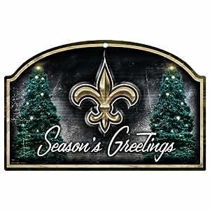 NFL New Orleans Saints 11-by-17 Wood Sign Season's Greetings