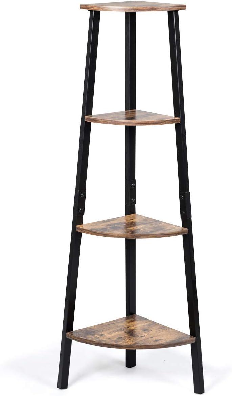 Tangkula Industrial Corner Ladder Shelf, 4-Tier Metal Storage Rack, Bookcase Plant Stand, Multipurpose Accent Furniture Ladder Shelf for Home Office, Display Corner Shelf (Rustic Brown)