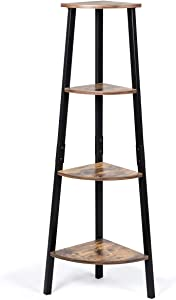 Tangkula Industrial Corner Ladder Shelf, 4-Tier Metal Storage Rack, Bookcase Plant Stand, Multipurpose Accent Furniture Ladder Shelf for Home Office, Display Corner Shelf (Rustic Brown)