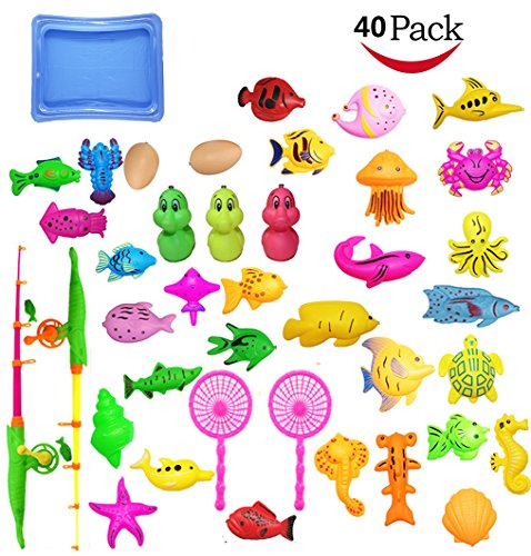 JIM'S STORE Kids Fishing Toy Bath Magnetic Toy 40pack -